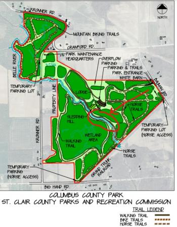 Map of the park with project area circled