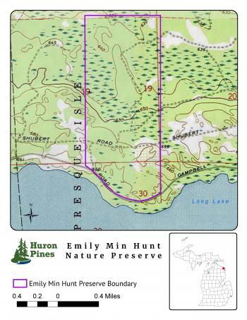 Map of the Emily Min Hunt Preserve