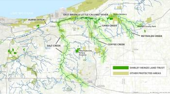Map showing the East Branch of the Little Calumet River and Shirley Heinze Land Trust areas