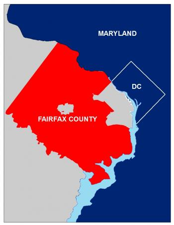 Map showing the outline of Fairfax County in relation to Maryland and Washington, DC