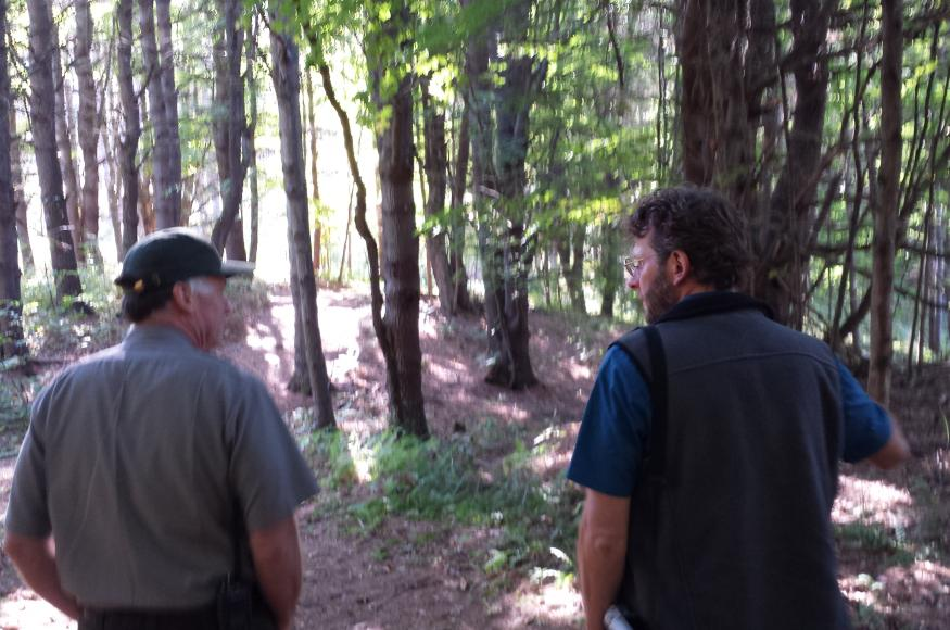 Two land managers, one of which is park staff, discuss forest management in the forest.