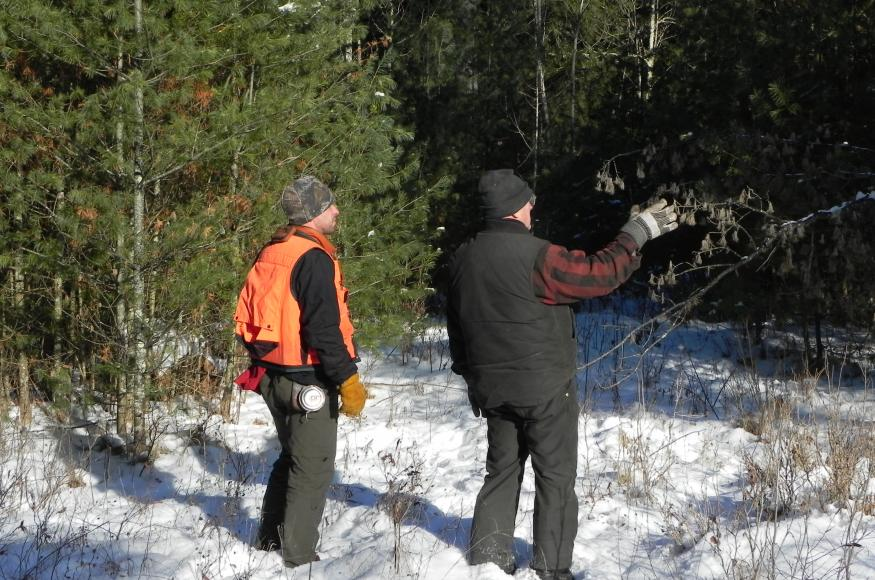 Rexx Janowiak (Green Timber) and Warren taking a walk around the property in December 2013.