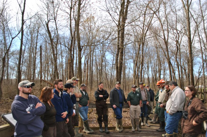 A group of people view a restoration site