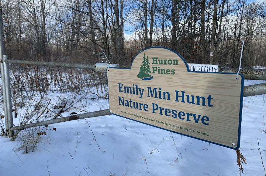 Photograph of the Emily Min Hunt Preserve sign
