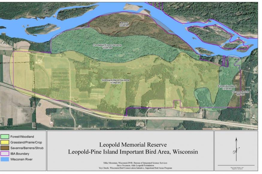 A  habitat type type map of the Leopold Memorial Reserve.