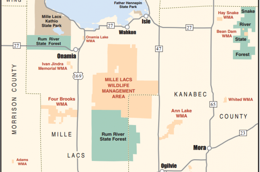 Locator map for the Mille Lacs WMA.